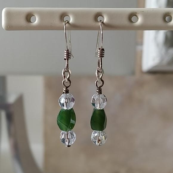 Sterling Silver & Jade dangle earrings